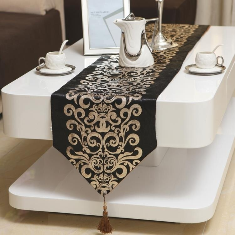 桌巾 歐式簡約燙金現代桌旗餐桌布茶幾電視櫃桌布餐墊布藝床旗床尾巾桌巾