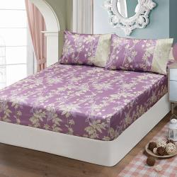 FITNESS 精梳棉雙人床包枕套三件組-緲緲煙花(紫)