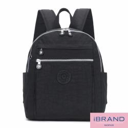 iBrand後背包 輕盈防潑水微甜尼龍口袋後背包-黑色 8613-BK