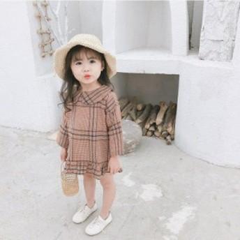 韓国子供服 女の子 ワンピースドレス チュールワンピース 長袖 チュール ワンピース ハイウエスト チェック ジュニア dress 通学/通園 キ