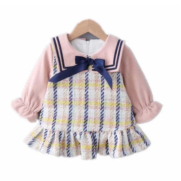 女童學院風假兩件荷葉洋裝 女童洋裝 女童連衣裙 【蘋果小舖】(RE)1912 A6