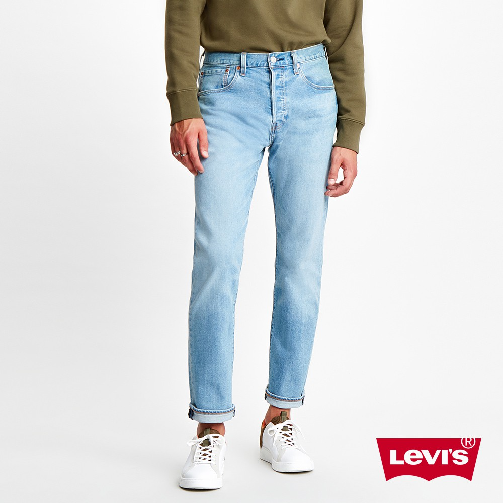 Levis 上寬下窄 /501 Taper排釦牛仔褲 /淺藍水洗 /彈性布料 男款-熱銷單品 28894-0224