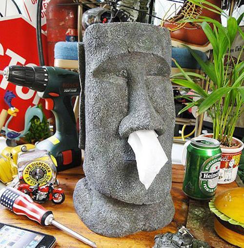 摩艾moai鼻涕搞怪衛生紙盒 復活節島石像人臉像面紙抽面紙盒