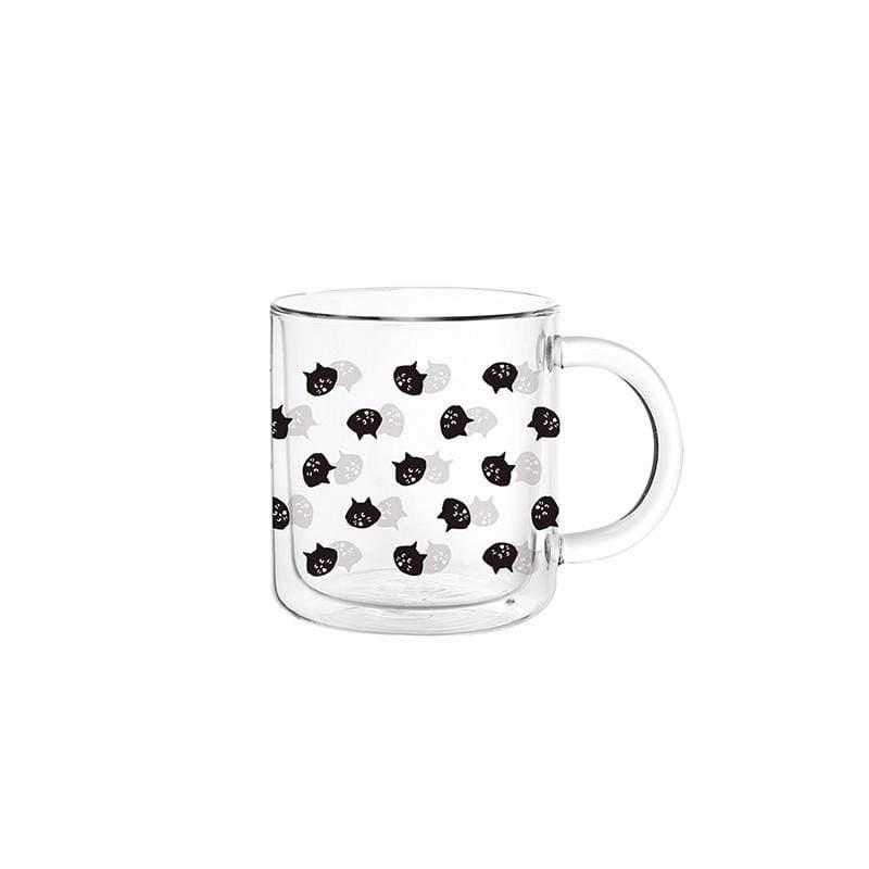 FUSHIMA X NYA- 經典雙層玻璃杯400ML(把手) - 迷你貓