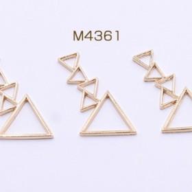 M4361 30個 フレームチャーム 5連三角形 20×34mm ゴールド 3X【10ヶ】