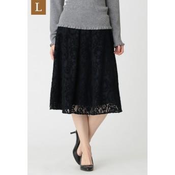 TO BE CHIC(大きいサイズ) 【L】モールフラワーラッセルスカート その他 スカート,ネイビー