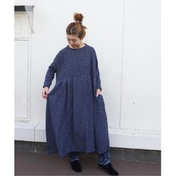 journal standard luxe フラワーPt ample タックワンピース◆ ネイビー フリー