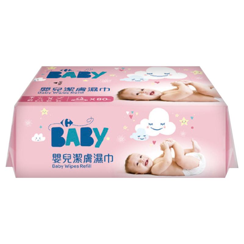 家樂福嬰兒潔膚濕巾量販包-粉紅-80PCx4