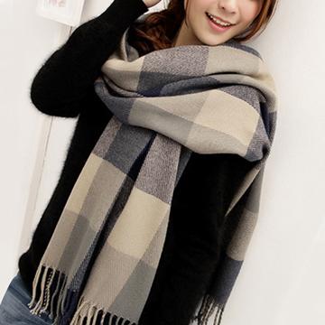 【幸福揚邑】羊絨質感格紋保暖圍巾/披肩-藍灰格