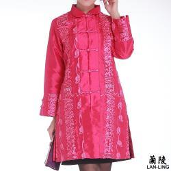 蘭陵中國風類絲綢緞面長版外套 1入 A09-11