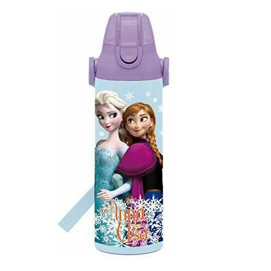 小禮堂 迪士尼 冰雪奇緣 彈蓋不鏽鋼保溫瓶附背帶《藍紫.勾手》600ml.水壺.水瓶