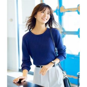 洗えるUVカット綿100%ワイドリブ編クルーネックニット (ニット・セーター)(レディース)Knitting, Sweater