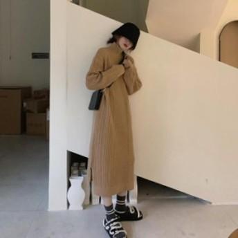 【2019秋冬】【2カラー フリーサイズ】ロング丈が今年らしく、小さい目のケーブル編みが可愛いスリット入りロングニットワンピース♪ ワ