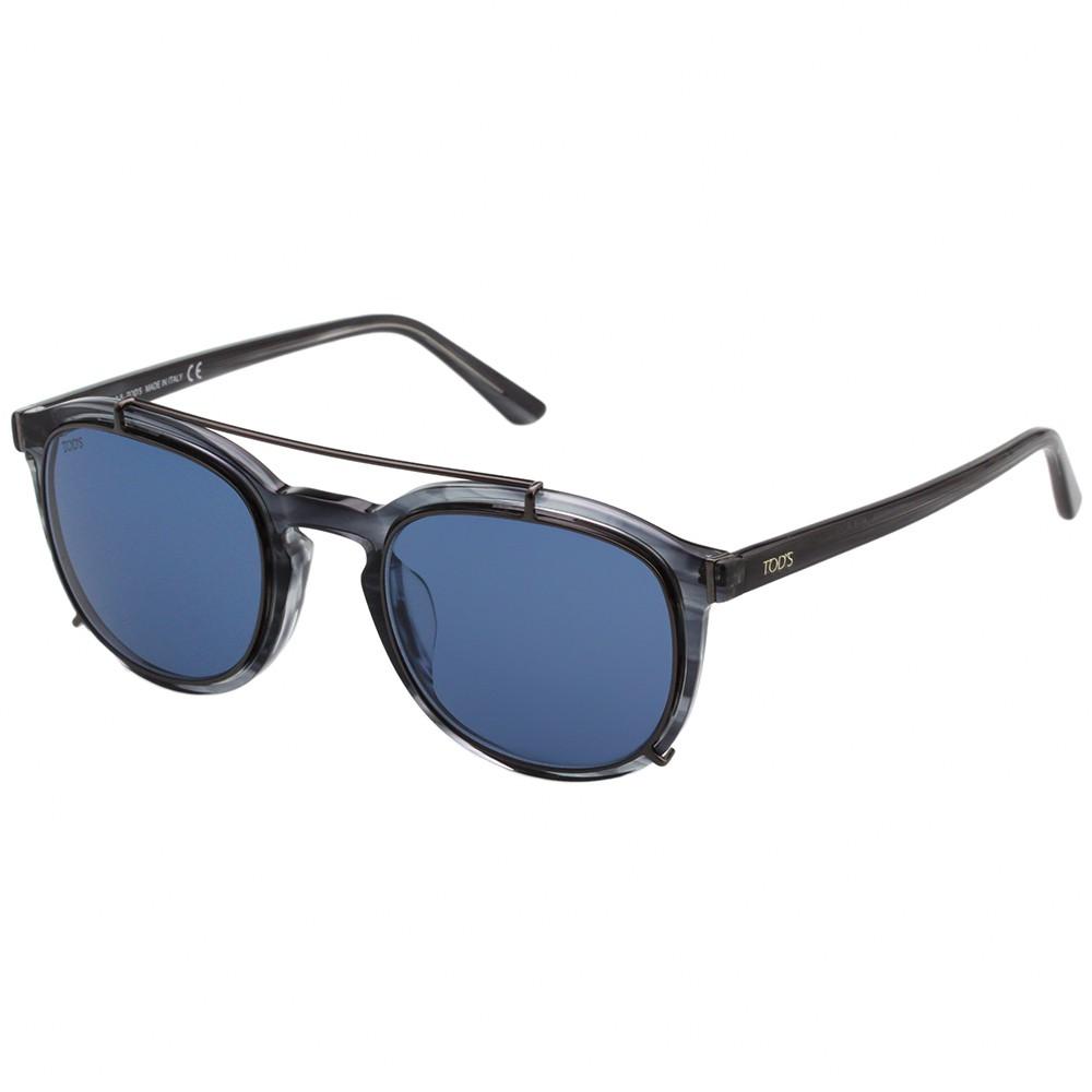 TOD'S 帥氣飛行員款 太陽眼鏡 (透明藍灰)TO181F