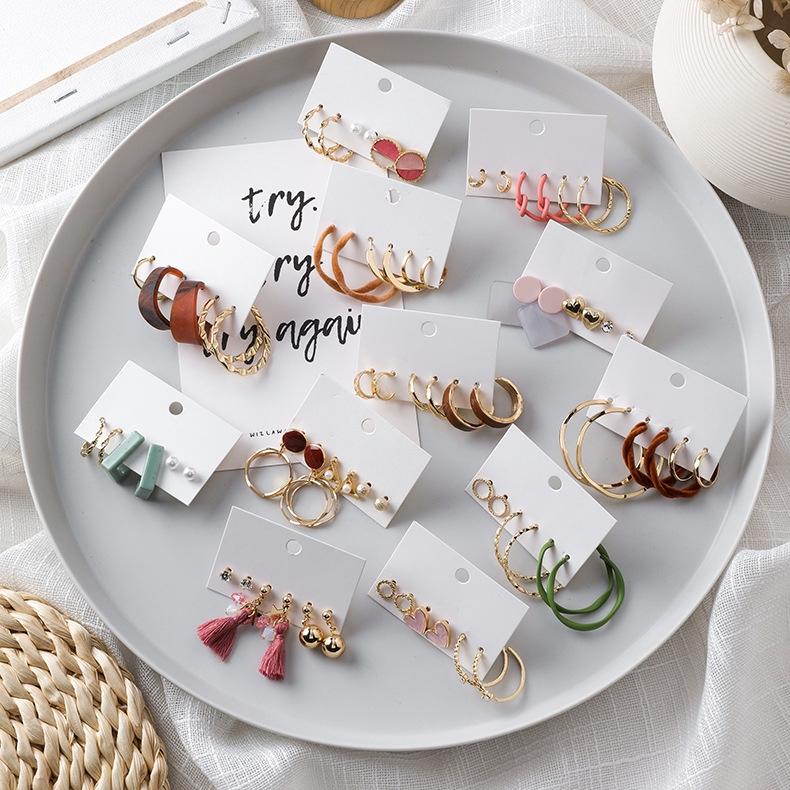 6件套耳環 韓國時尚幾何簡約圓形圓圈套裝耳環