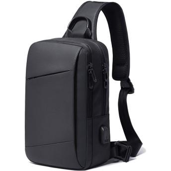 YUCG ボディバッグ メンズ 斜めがけ 大容量 ワンショルダーバッグ 防水 USB充電ポート 肩掛けバッグ iPad収納可能 通勤(ブラック B)