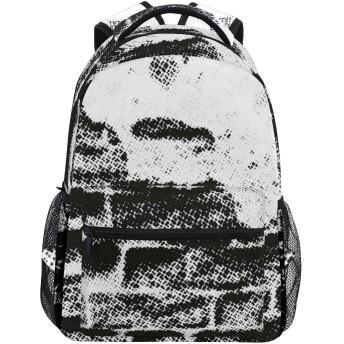 NINEHASA 新しいリュックサック人気リュックおしゃれ 大容量 軽量 通学 旅行ハイキングキャンプバッグ 黒と白のグランジウォールプリント