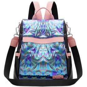 Wiixiong 女性ファッションダズルスターバックパック、女性カラフルなPUレザースクールショルダーバッグ学生旅行カジュアルリュックサックブックバッグ女の子のためのティーンエイジャー(ブルー)