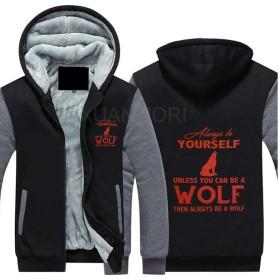 Always Be A Wolf パーカー 長袖 フルジップ ペアルック 冬の暖かいプラス厚いベルベットセーター フーディ 帽フード付きスウェット 秋 冬 出行 厚手 無地