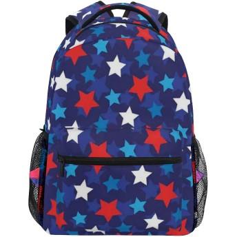 NR 新しい軽量おしゃれ学校バックパック愛国心が強いアメリカの国旗スター印刷旅行ハイキングキャンプバッグ多機能 遠足 おしゃれ