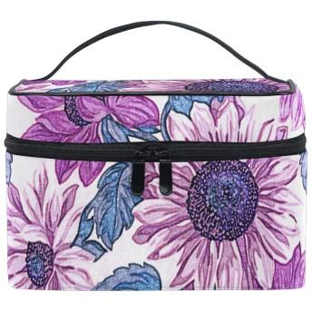 (fohoo) メイクボックス 大容量 おしゃれ 花柄 向日葵 ヒマワリ パープル バニティーケース 多機能 軽量 小物入れ 化粧箱 ギフト対応