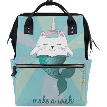 バックパック 楽しい魔法猫ユニコーン人魚ベクトル 男女兼用 通学 通勤 旅行 スポーツ バッグ