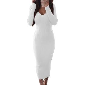 supersweet セクシーな女性の長袖Vネックバックレスリブボディコンスリムニットミディドレス