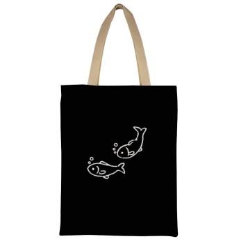 黒魚 女性のトートバッグコットンA4互換大容量シングルバックパックハンドバッグ通勤学校 両面印刷