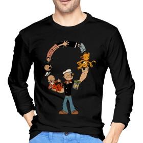 DSMABC ポパイ Popeye Tシャツ 長袖 メンズ カジュアル 秋服 ロングtシャツ 丸首 メンズ シャツ ゆったり 秋 冬 Black XXL