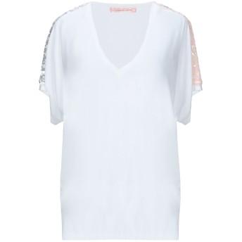 《セール開催中》TRAFFIC PEOPLE レディース T シャツ ホワイト XS レーヨン 95% / ポリウレタン 5% / ポリエステル / 金属繊維