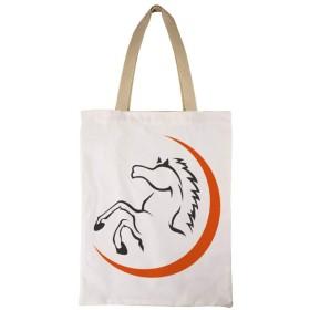 ペンティアム馬 女性のトートバッグコットンA4互換大容量シングルバックパックハンドバッグ通勤学校 両面印刷