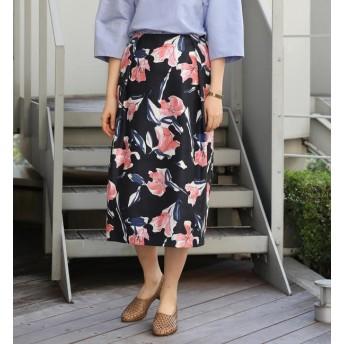 【トゥモローランド/TOMORROWLAND】 ナイトフラワープリント タックIラインスカート