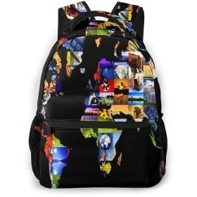 リュック 世界地図構成マット, バックパック リュックサック ビジネスリュック メンズ レディース カジュアル 男女兼用 軽量 通勤 通学 旅行 鞄 バッグ カバン