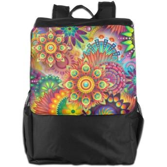 色 数字 抽象的 花 バックパックリュック 大容量 メンズ バックパック カジュアルバッグ オシャレ旅行バッグ 通勤 通学 男女兼用バッグ 黒