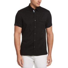 [ペリーエリス] メンズ シャツ Solid Untucked Twill Short-Sleeve Woven [並行輸入品]