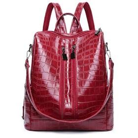 ヨーロッパとアメリカの女性のバッグバックパックバックパック女性屋外旅行学生ファッションギフトバッグワニ革バッグ (レッド)