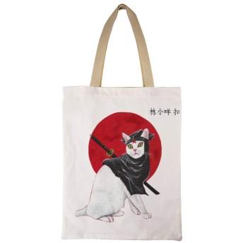 Mura猫 女性のトートバッグコットンA4互換大容量シングルバックパックハンドバッグ通勤学校 両面印刷
