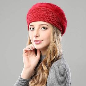 MYKUNSIA ニット帽 冬の暖かい帽子の女の子は女性のビーニーの帽子のための編まれた帽子を覆います二重層材料の帽子