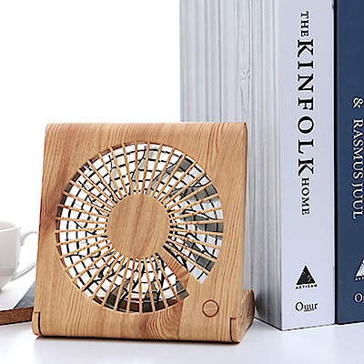 QHL酷奇 木紋造型摺疊筆記本隨身USB風扇