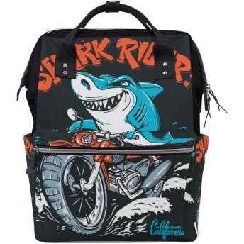 MIMUTI バックパック オートバイのベクトルTシャツにサメライダー 男女兼用 通学 通勤 旅行 スポーツ バッグ
