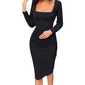 supersweet 女性ソリッドカラーローカットロングスリーブボディコン宴会パーティー膝丈ドレス