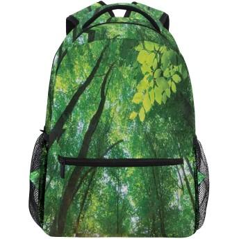 NINEHASA 新しいリュックサック人気リュックおしゃれ 大容量 軽量 通学 旅行ハイキングキャンプバッグ 自然に背の高い木々の下で葉の森を通して燃える活気のある太陽