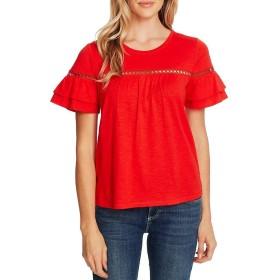 [セセ] レディース Tシャツ Short Sleeve Lace Trim Cotton Blend Slub [並行輸入品]
