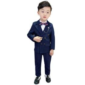 FollowDream 子供服 男の子 スーツ フォーマル ストライプ かっこいい ボーイズ ベビー キッズ 紳士服 洋服 発表会 入学式 卒業式 結婚式 七五三 誕生日 入園式 2点セット
