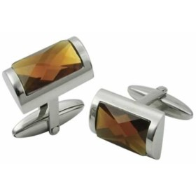 Stainless Steel Cufflinks with large stone