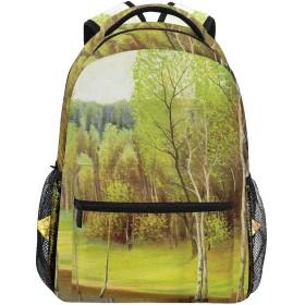 NINEHASA 新しいリュックサック人気リュックおしゃれ 大容量 軽量 通学 旅行ハイキングキャンプバッグ 夏の牧歌的な穏やかな森に春の風景小さな湖冬のペイント