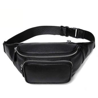 YIYUTING 男性の少年のためのベルトバッグベルトホルスターバッグ本革ファニーウエストパックショルダーバッグ (Color : Black)