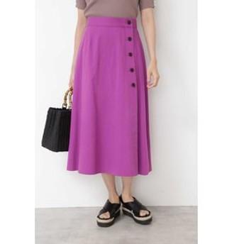 【NATURAL BEAUTY BASIC:スカート】[洗える]サイド釦ミディフレアスカート