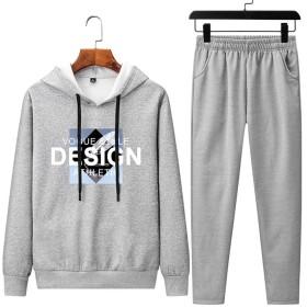 WANGJIN メンズ セットアップ 上下 2点セット ジャージ スポーツウェア スウェット フード付き パーカー 運動着 部屋着 カジュアル (Color : Grey, Size : L)