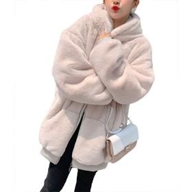 レディース ボア ジャケット ブルゾン アウターコート ボアブルゾン ボアコート もこもこ ゆったり 暖かい 冬 防寒 長袖 冬 カジュアル (アプリコット,S)